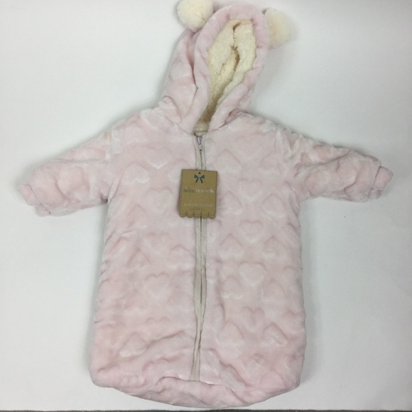 c183d25f0 Mon Lapin One Pieces | Heart Sherpa Fleece Lined Baby Bunting ...